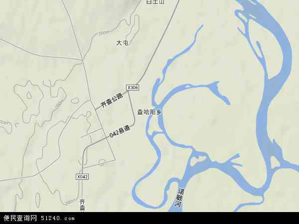 中国黑龙江省齐齐哈尔市甘南县查哈阳乡地图