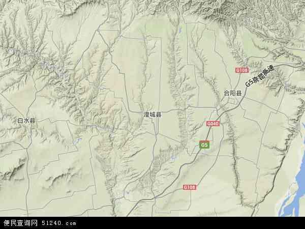 中国陕西省渭南市澄城县地图(卫星地图)