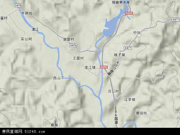 澄江镇2017年卫星地图 中国江西省赣州市寻乌县澄江镇地图图片