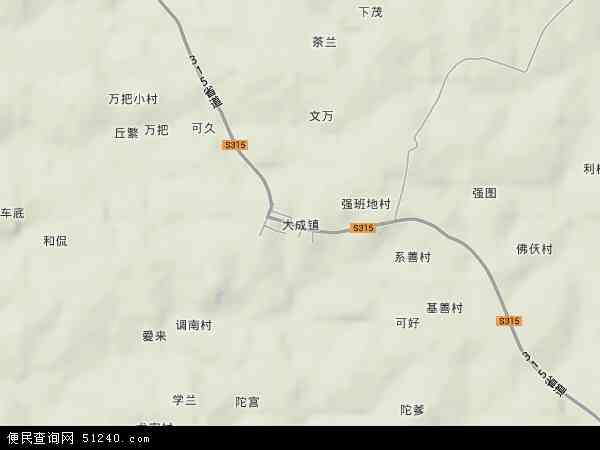 中国海南省省直辖县级行政区划儋州市大成镇地图