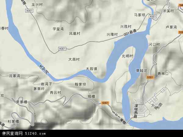 中国重庆市巫山县大昌镇地图(卫星地图)