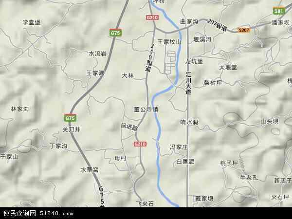 中国贵州省遵义市汇川区董公寺镇地图(卫星地图)