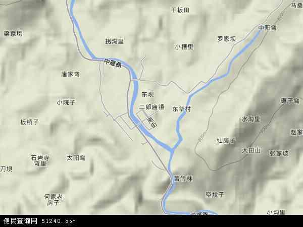 二郎庙镇地形地图
