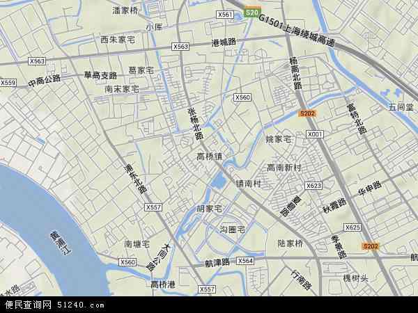 高桥镇地形地图