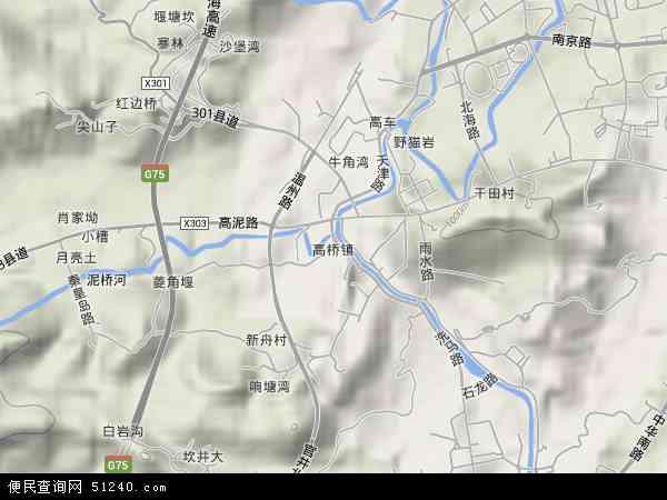 中国贵州省遵义市汇川区高桥镇地图(卫星地图)