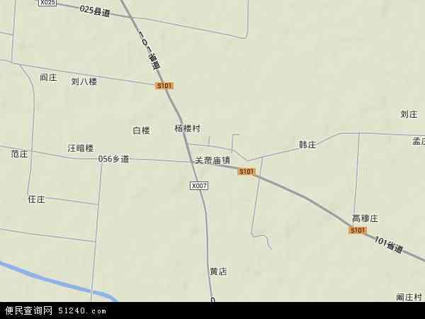 中国安徽省宿州市砀山县关帝庙镇地图(卫星地图)