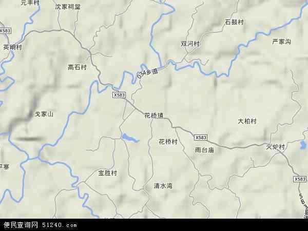 中国重庆市忠县花桥镇地图(卫星地图)