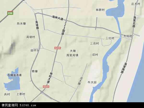 中国海南省三亚市海棠湾镇地图(卫星地图)