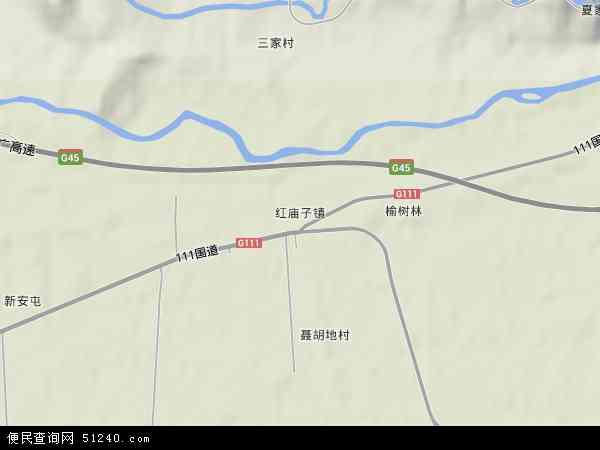 中国内蒙古自治区赤峰市红山区红庙子镇地图(卫星地图)