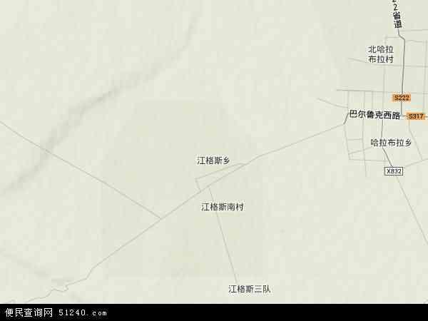 中国新疆维吾尔自治区塔城地区裕民县江格斯乡地图