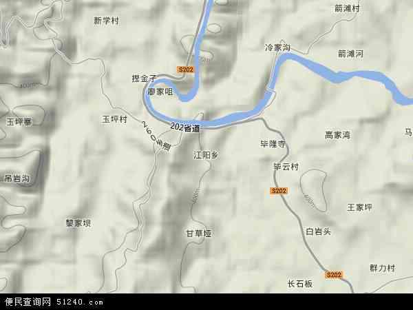 江阳乡2017年卫星地图 中国四川省达州市达川区江阳乡地图