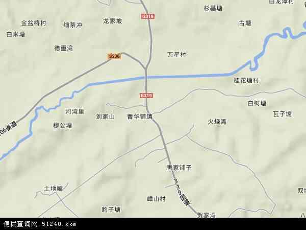 菁华铺乡地形地图