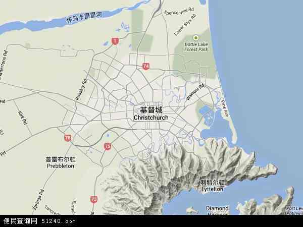 新西兰克赖斯特彻奇地图(卫星地图)