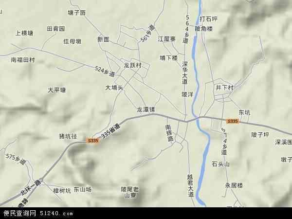 中国广东省揭阳市揭西县龙潭镇地图(卫星地图)图片