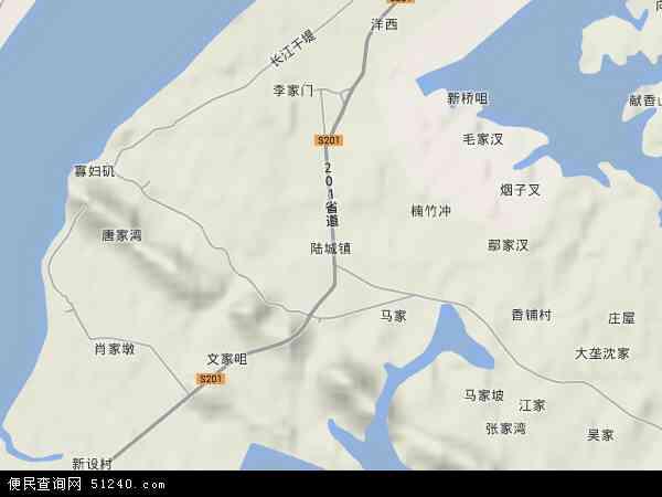 中国湖南省岳阳市云溪区陆城镇地图(卫星地图)