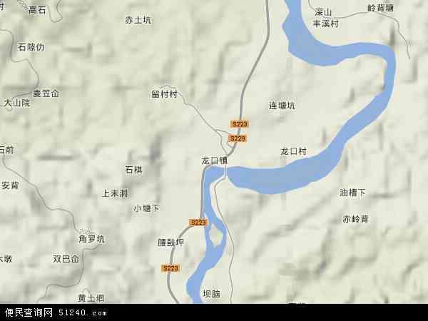 龙口镇地形地图