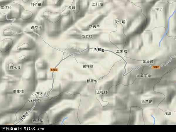 中国重庆市巫山县骡坪镇地图(卫星地图)