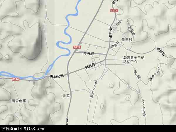 中国云南省西双版纳傣族自治州勐海县勐海镇地图(卫星地图)