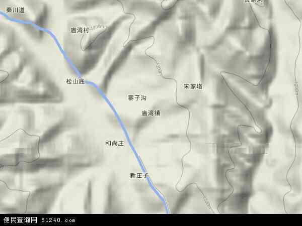 中国陕西省铜川市耀州区庙湾镇地图(卫星地图)