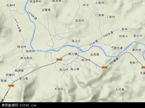 中国广东省揭阳市揭西县南山镇地图(卫星地图)图片