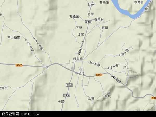 桥头镇地形地图