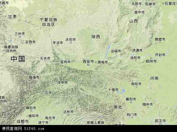 中国陕西省地图(卫星地图)