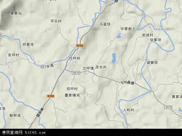 中国重庆市垫江县沙坪镇地图(卫星地图)