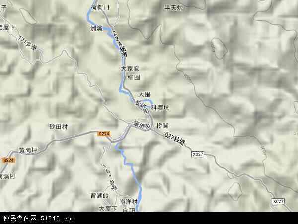 中国广东省梅州市丰顺县砂田镇地图(卫星地图)