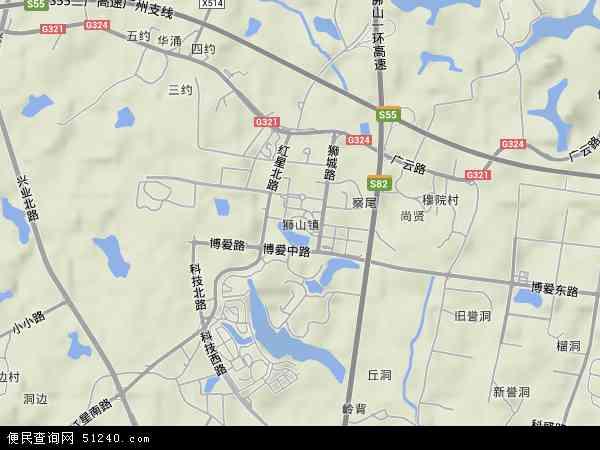 中国广东省佛山市南海区狮山镇地图(卫星地图)