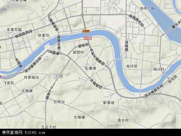 石塘镇地形地图