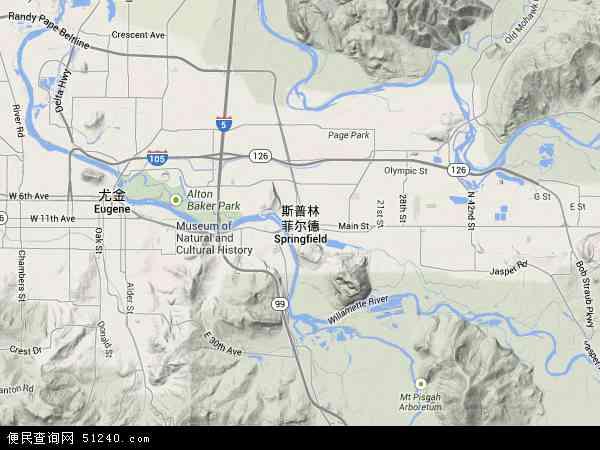 美国俄勒冈斯普林菲尔德地图(卫星地图)