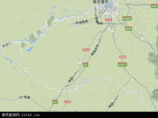 中国黑龙江省哈尔滨市双城市地图(卫星地图)