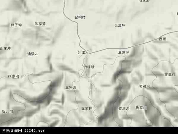 沙坪镇地形地图