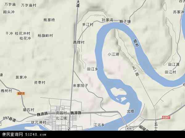 中国湖南省邵阳市北塔区田江乡地图(卫星地图)