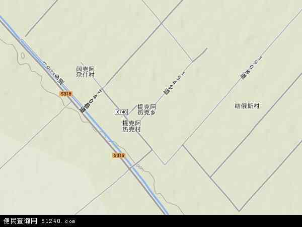 中国新疆维吾尔自治区伊犁哈萨克自治州巩留县提克阿热克乡地图(卫星