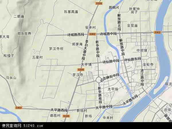 太平镇地形地图