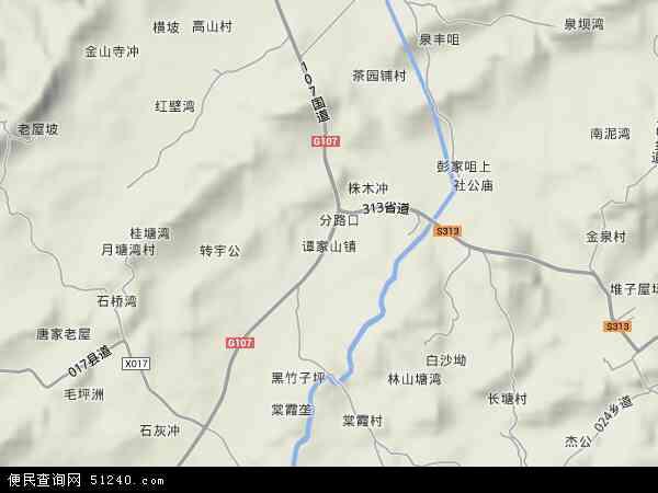 中国湖南省湘潭市湘潭县谭家山镇地图(卫星地图)