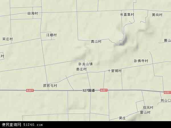 中国山东省济宁市嘉祥县卧龙山镇地图(卫星地图)