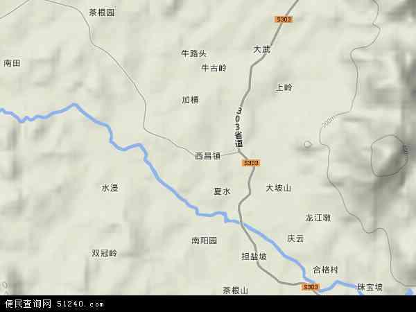 中国海南省省直辖县级行政区划屯昌县西昌镇地图(卫星地图)