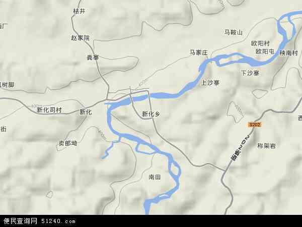 新化乡地图 - 新化乡卫星地图