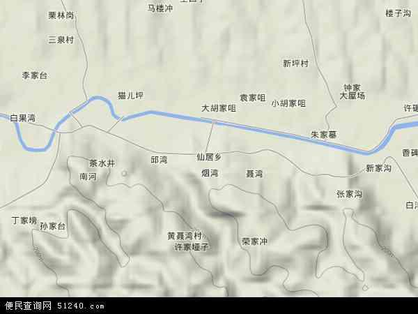中国湖北省荆门市东宝区仙居乡地图(卫星地图)