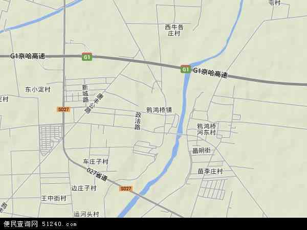 中国河北省唐山市玉田县鸦鸿桥镇地图(卫星地图)