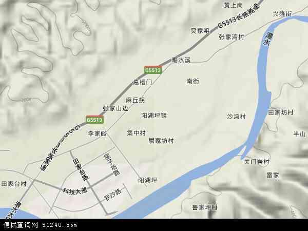 中国湖南省张家界市永定区阳湖坪镇地图(卫星地图)