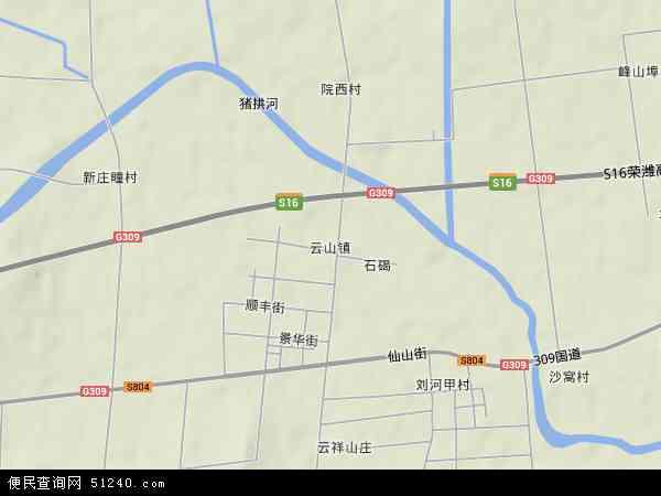 中国山东省青岛市平度市云山镇地图(卫星地图)