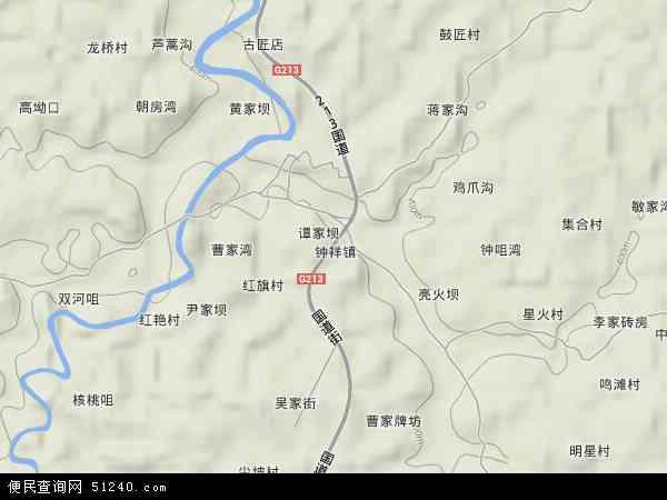 钟祥镇地形地图