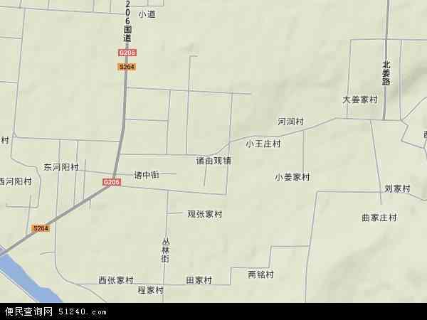 中国山东省烟台市龙口市诸由观镇地图(卫星地图)