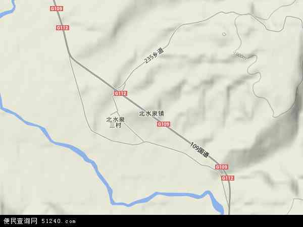 北水泉镇地图 - 北水泉镇卫星地图