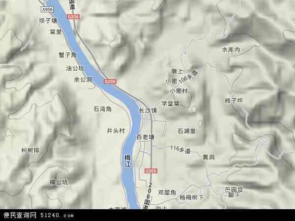 中国广东省梅州市梅江区长沙镇地图(卫星地图)