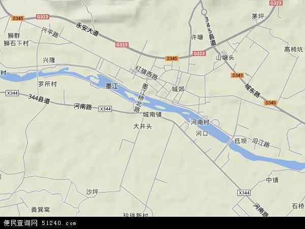 中國廣東省韶關市始興縣城南鎮地圖(衛星地圖)圖片