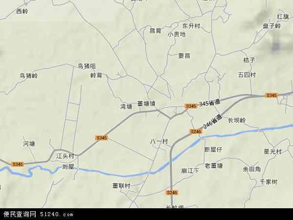 中国广东省韶关市仁化县董塘镇地图(卫星地图)